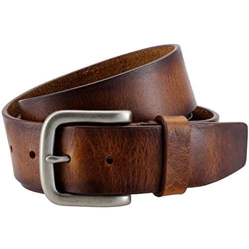 The Art of Belt by LINDENMANN Mens leather belt/Womens leather belt, full grain leather belt, casual unisex, in 2 colors, black/cognac, Größe/Size:90;