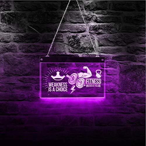 QERTYU Letrero de neón LED Fitness Muscle Club Decoración de pared Tablero colgante Gimnasio Arte Decoración para el hogar @ 30x20cm