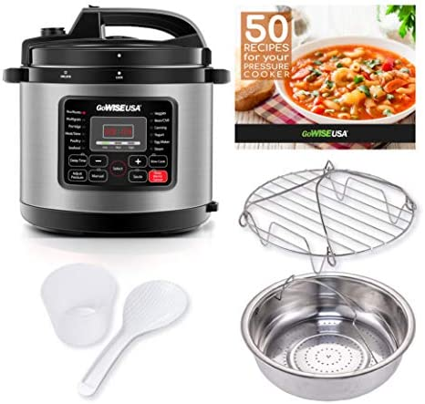 GoWISE USA 12 in 1 Multi Use Electric Pressure Cooker with Stainless Steel Pot Measuring Cup product image