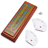 Muliticolor 3-Track Wooden Cribbage Board Game with 2 Deck Playing Cards