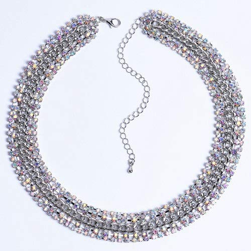 ghn Chain Necklaces Women's Colorful Necklaces Fashion Rhinestone Jewelry, Sparkling Luxury Accessories CORUIXI H94815 Jewelry & Accessories (Metal Color : Imitation Rhodium Plated)