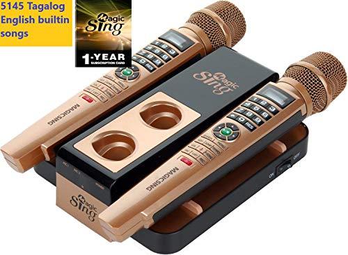 2020 Magic Sing E5+ 5145 Tagalog English songs + WIFI Karaoke Two Wireless Mics 12K English +1 Year Subscription for Tagalog Hindi Spanish Russian Vietnamese Japanese Korean songs & more