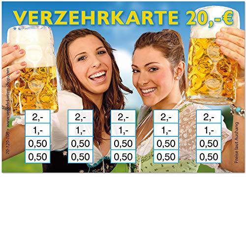 250 Verzehrkarten, Format DIN A7, Gesamtwert 20 €, praktische Alternative zu Wertmarken, für Vereine, Gastronomie, Firmen, Schulen u.v.m, einfaches bargeldloses Bezahlen