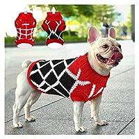 DHDHWL ペット服 犬服 ペット犬の冬の暖かい小中犬猫チワワROPAパラPERRO S-2XL用ジャンパーセーター犬子犬服 #c (Color : RedBlack, Size : M)