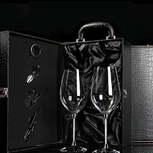 JHM-Due Bicchieri di Vino di Cristallo (470Ml) Valigia in Pelle Nera Valigia Scintillante Diamante Red Vino Glasses Uomini O Donne