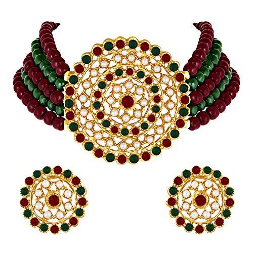 Aheli Gargantilla de diamantes de perlas con pendientes redondos para mujeres y niñas, conjunto de joyería tradicional de Bollywood