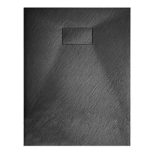 Piatto Doccia Casa Arredo Bagno In Resina SMC Effetto Pietra Stone Ardesia Spessore 2.6 Cm Antiscivolo Filopavimento Indistruttibile Con Griglia Di Copertura Antracite Nero (80x140 cm)