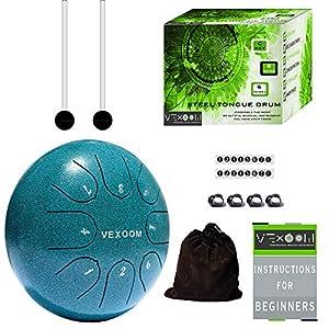 VEXOOM Steel Tongue Drum Instrument - Yoga Accessories - Calm Drum - Spiritual Gifts