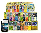 Holo Rare Pokemon Bundle- 50+ Cards= 50 Cards + 5 foil Cards, 5 foil/Holographic Rare Cards, Plus a Lightning Card Collection's Deck Box