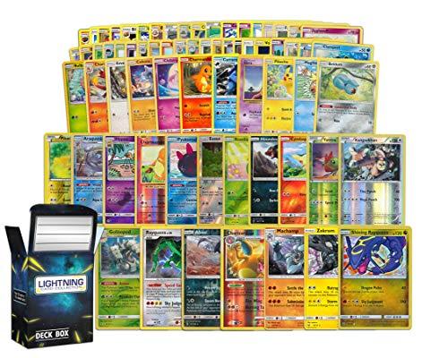 Holo Rare Pokemon Bundle- 50+ Cards= 50 Cards + 5 foil Cards, 5 foil/Holographic Rare Cards, Plus a Lightning Card Collection's Deck Box