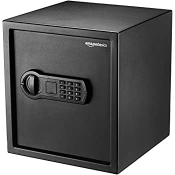 Stash Safe Amazon Basics Steel Home Security Safe with Programmable Keypad - Secure Documents, Jewelry, Valuables - 1.2 Cubic Feet, 13 x 13 x 14.2 Inches, Black