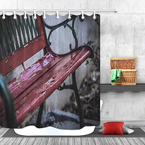 /N Pintura del Parque Que se Quita el sillón reclinable Cortina de Ducha Decoración de baño Tela y 12 Ganchos