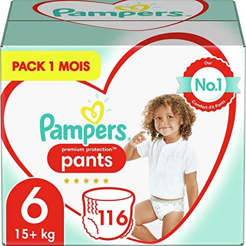 Pampers Couches-Culottes Premium Protection Pants Taille 6 (+15kg) notre N°1 pour la protection des peaux sensibles, Faciles à Changer, 116 Couches-Culottes (Pack 1 Mois)
