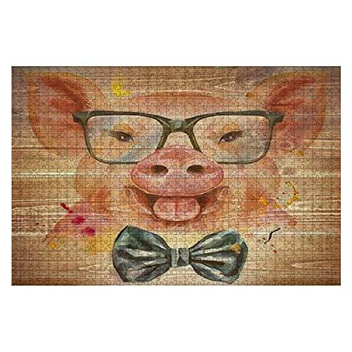 1000 piezas Cute Piggy Pig para gráficos de camisetas Acuarela Pink Pig con pajarita Rompecabezas de piezas grandes para adultos Juguete educativo para niños Juegos creativos Entretenimiento Rompecabe