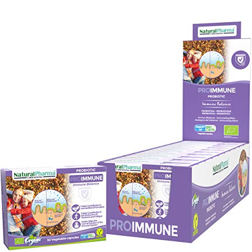 NaturalPharma ProImmune Probiotic Pack x10. Support for The Immune System. with Folate. Capsules Smart BioCaps. Organic Certification (Gluten & Lactose Free, Vegan).