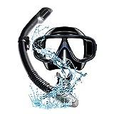 Máscara de esnórquel antivaho Set de buceo con tubos de respiración libres mejorados, antifugas, tubo superior seco, para adultos y jóvenes