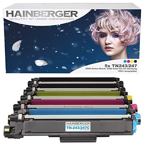 5er Pack Hainberger® XL Toner mit Chip kompatibel zu Brother TN-243 TN-247 für Brother DCP-L3510CDW DCP-L3550CDW HL-L3210CW HL-L3230CDW HL-L3270CDW MFC-L3710CW MFC-L3730CDN MFC-L3750CDW MFC-L3770CDW
