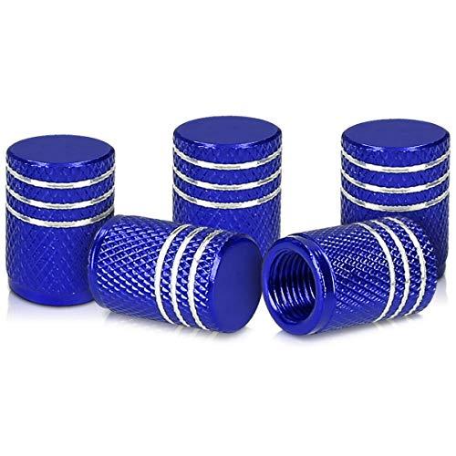 kwmobile 5X Auto Ventilkappen Abdeckung - Autoventil Schraderventil Metall Kappen - PKW Fahrrad Motorrad Ventildeckel in Blau Silber