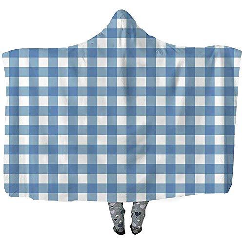 L.R.D Blauw Tafelkleed Achtergrond Gooi Draagbare Hooded Deken, Volwassen Dubbele Verdikking Draagbare Deken 50