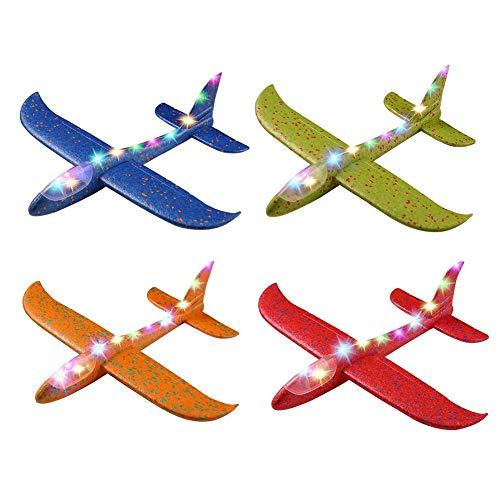 Prom-near 4 PCS Styroporflieger Flugzeug Kinder mit Licht Flugzeug Spielzeug Outdoor Wurf Segelflugzeug Werfen Fliegen Modell für Kinder Kindergeburtstag, mit Licht, 48CM