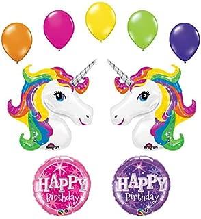 Unicorn 9 pc Rainbow Sparkle Birthday Party Balloon Bouquet by Anagram