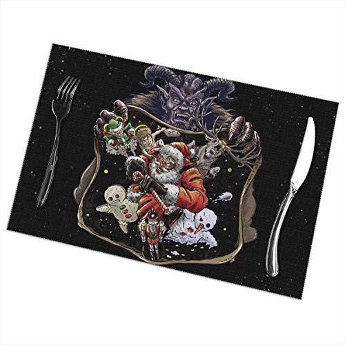 Beryl Shop Weihnachten Krampus Santa Claus Nussknacke Elch Tischsets Tisch Tischset Mat Patio Feiertage Dekorationen Dekor Ornament Themed