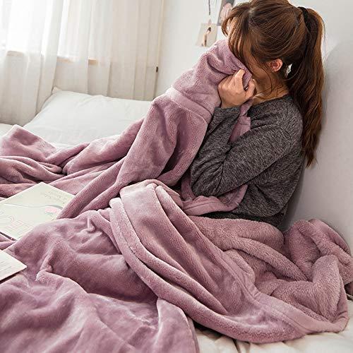 GC&& Dicke Coral Fleece Weich Überwurf Blanket Für Sofas Sofa Stühle Couch - Leicht,Warm Und Gemütlich,Volltonfarbe