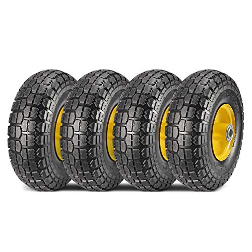 """MaxAuto 4-Pack 10 Inch Solid Rubber Tyre Wheels Garden Wagon Cart Trolley Tires 4.10/3.50-4"""", 2.25"""" Offset Hub, 5/8"""" Bearings, Yellow Steel"""