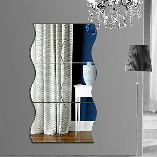 SHENAISHIREN Pegatinas de pared, 3D Espejo ondulado Arte DIY Home Decorativo acrílico Espejo Hoja de pared Plástico Espejo Azulejos para el hogar Sala de estar Dormitorio Sofá Ajuste de TV