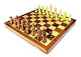 StonKraft Handmade Premium Holz 46 x 46 cm Schachspiel - Faltbares Holzset mit extra Dame