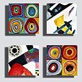 quadri moderni stile kandinsky 4 pz. 40x40 cm giallo blu rosso stampa su tela canvas arredamento xxl arredo soggiorno salotto camera da letto cucina ufficio bar ristorante