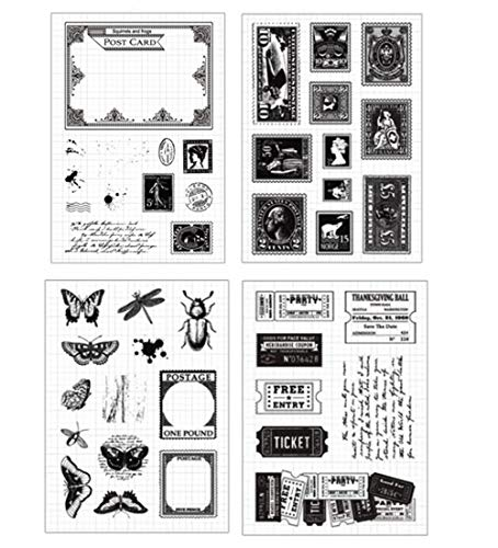 Layhome 4-teiliges Set mit transparenten Stempeln im Vintage-Stil, für Scrapbooking, Basteln, Kunsthandwerk (Porto & Ticket)