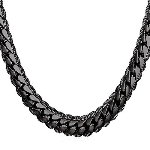 U7 Halskette für Männer Jungen 9 mm breit Erbskette Rundpanzerkette - Mesh Englische Collier Schwarzes Metall plattiert Gliederkette Modeschmuck 61cm lang, schwarz