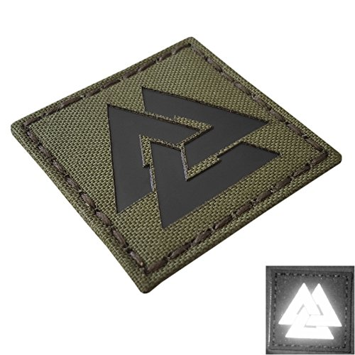 IR OD Green Viking Valknut Norse 2x2 Laser Cut Olive Drab IFF Tactical Morale Touch Fastener Patch