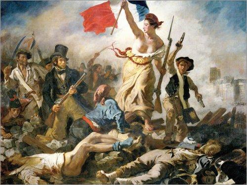 Posterlounge Leinwandbild 90 x 70 cm: Die Freiheit führt das Volk von Eugene Delacroix - fertiges Wandbild, Bild auf Keilrahmen, Fertigbild auf echter Leinwand, Leinwanddruck