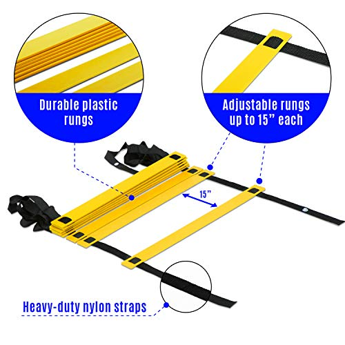 Yes4All Agility Ladder – Speed Agility Training Ladder with Carry Bag - 8 Rung (Yellow) - SGQV
