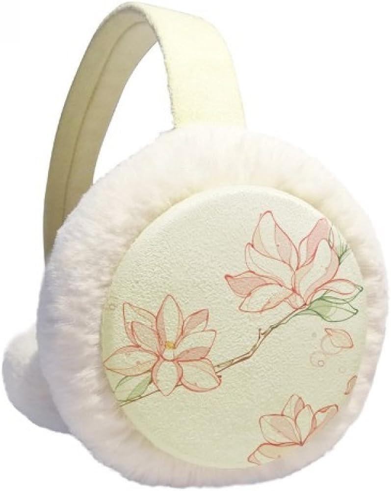 Watercolor Peach Tree Leaves Flower Winter Ear Warmer Cable Knit Furry Fleece Earmuff Outdoor