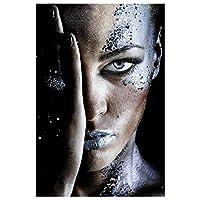アフリカの黒人女性のキャンバス絵画上の壁のアートポスターメイクアップ女性アートカバーフェイスプリント - キャンバスの家の装飾写真、寝室、フレームレス,60x80cm