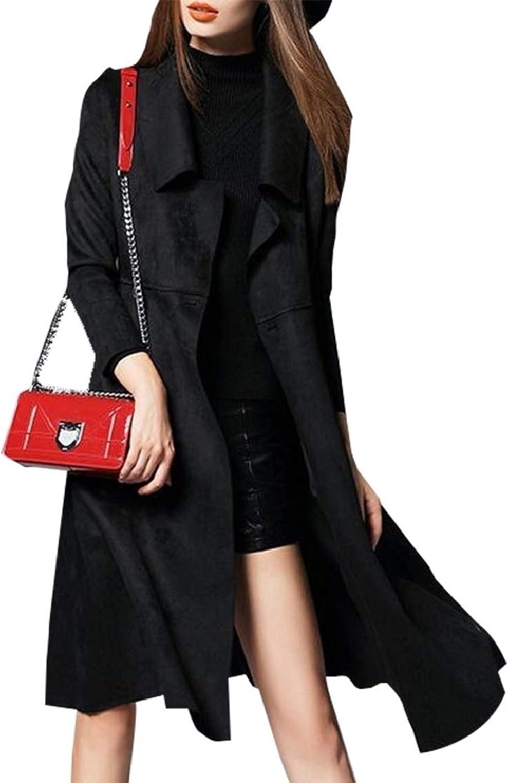 PujinggeCA Women's Fashion Slim Fit Suede Faux Leather Long Overcoat Parka Coats