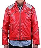 MJB2C - Mj Costume Jackson Beat it Jacket (Adult Large) - Red - 26 Pieces Metal Zipper - Eco-Friendly Leather