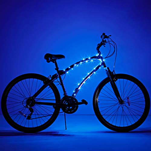 Brightz CosmicBrightz LED Bicycle Frame Lights, Blue - 6.5-Foot Light Rope for Bikes - Battery-Powered Pack with On/Off Switch - Available in Ultra-Bright Colors - Fits Kid, Teen & Adult Bikes