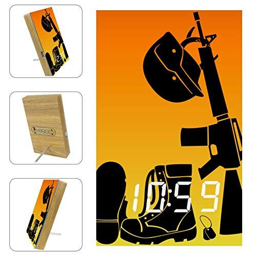 Nananma Digitaler LED-Wecker mit Soldaten, Battle Gear Druck, USB-Ladeanschluss, Schlaf-Timer, Anzeige von Datum, Temperatur