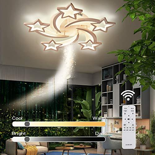 Lámpara LED de techo Jior LED Star de araña con mando a distancia regulable, 65 W A, color de luz/brillo ajustable, para dormitorio, salón, pasillo, cocina