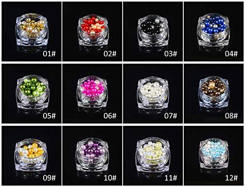 Meiyy Nageldecoratie, 1 fles, kleurrijk, seashell, parels, strass, rond, gel, meerdere rijen, manicure, 3D Nail Art Decoratie 12 Colors Each 1Pc