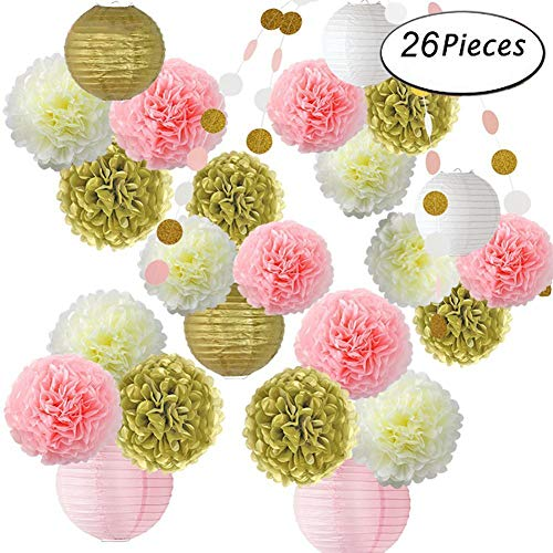 Fymural Pink and Gold Party Supplies Tissue Pom Poms Flowers and Paper Lanterns for Wedding Party 1st Baby Girl Birthday 26 PCS Baby Shower Decoration