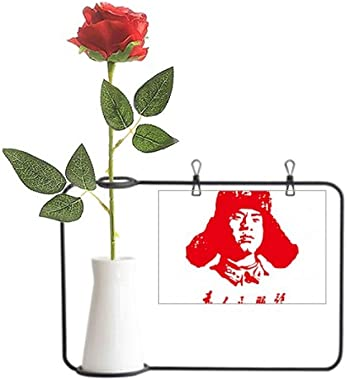Beauty Gift Lei Feng Serve People Red China Artificial Rose Flower Hanging Vases Decoration Bottle