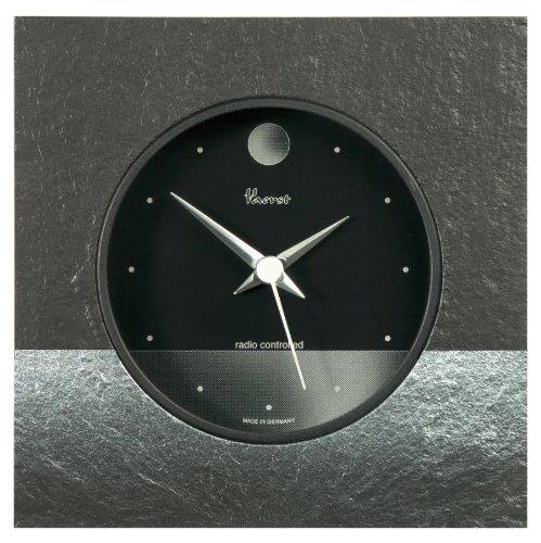 Vaerst 2623 Funk-Tischuhr aus Naturschiefer, Airbrush Design, Horrizont, Mond Silber, Softlinegehäuse