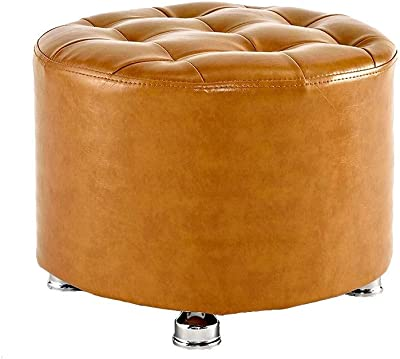 Folding Storage Ottoman Extra Padded Upholstered Footstool PU Leather Seat with Solid Wood Round Ottoman 4 Legs Padded Footrest Chair Change Shoes Foot Stool Up