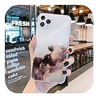 Euiwq ファッション高級カラフル大理石透明携帯電話ケースiPhone12 11 Pro XS MAX X XR 7 8 plus SE2020カバーリング付き-Style 12-For iphone X or XS