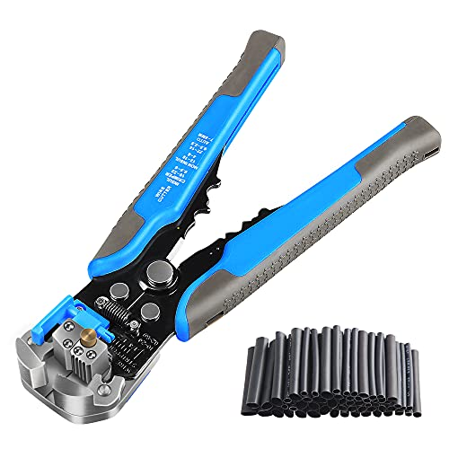 Multifunctional Automatic Wire Stripper With 127pcs Heat Shrinkable Tube, 8 Inches, Stripping Range Of Wire Strippers 10-24AWG, Crimping 4-22AWG and With Wire Cutter Function